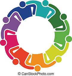 collaboration, étreinte, 9, groupe gens, logo