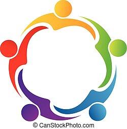 collaboration, étreinte, amitié, logo