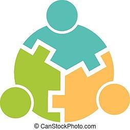 collaboration, 3, logo, cercle, imbriqué
