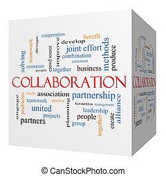 Collaboration 3D cube Word Cloud Concept