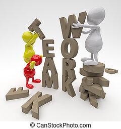 collaboration, 3d, mot, gens fonctionnement