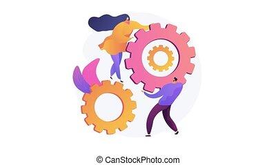 Collaboration 4K loop animation - Business partnership, ...