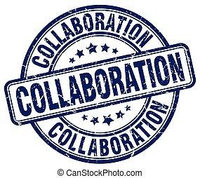 collaboration blue grunge stamp