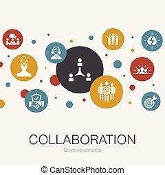 collaboration, collaboration, cercle, soutien, branché, icons., tel, gabarit, communication, simple, contient, éléments