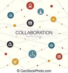 collaboration, collaboration, toile, soutien, branché, icons., tel, gabarit, communication, simple, contient, éléments