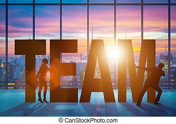 collaboration, concept, à, les, mot, équipe