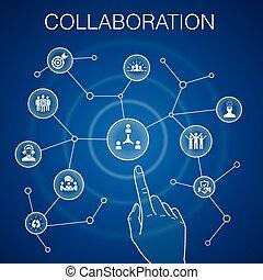 collaboration concept blue background teamwork, support, communication, motivation icons