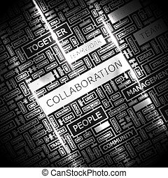COLLABORATION. Concept illustration. Graphic tag collection...