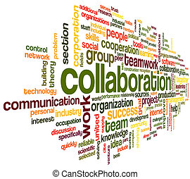 Collaboration concept in word tag cloud isolated on white ...