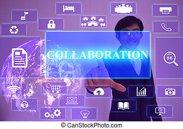 COLLABORATION  concept  presented by  businessman touching on  virtual  screen ,image element furnished by NASA