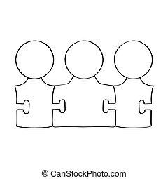 collaboration, concept, puzzle., contour, gens