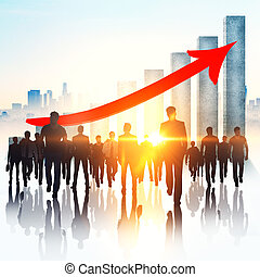collaboration, croissance, et, emploi, concept