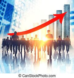 collaboration, croissance, et, finance, concept