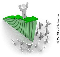 collaboration, croissance, -, flèche, équitation