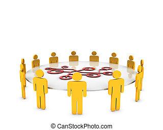 collaboration, décision, réseau, 3d