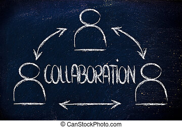 collaboration, design with group of co-workers - concept of...