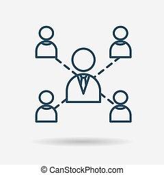 collaboration, direction, coopération, icône