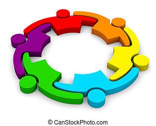 collaboration, embrasser, 6, groupe, gens