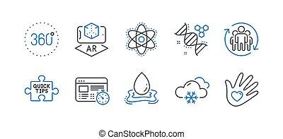 collaboration, ensemble, science, weather., chimie, vecteur, icônes, adn, neige, tel