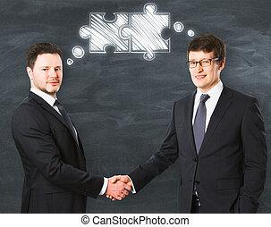 collaboration, et, amitié, concept