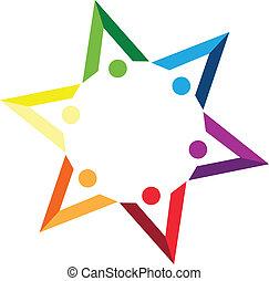 collaboration, forme, livres, étoile, logo