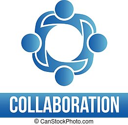 Collaboration. Group of 4 people lo