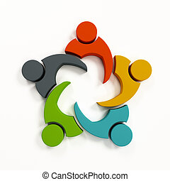 collaboration, illustration, rendre, collaboration, logo., 3d