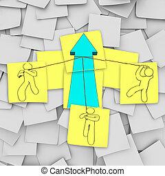 collaboration, -, levage, les, croissance, flèche
