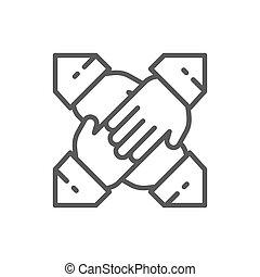 collaboration, ligne, équipe, icon., mains
