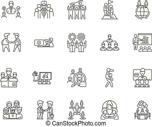 Collaboration line icons, signs, vector set, outline illustration concept