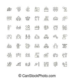 Collaboration linear icons, signs, symbols vector line illustration set