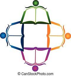 collaboration, livre, logo