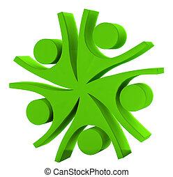 collaboration, logo, vert, 3d, compagnie