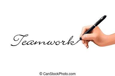 collaboration, main, 3d, mot, écrit