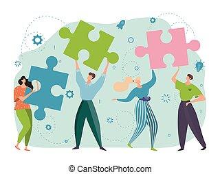 collaboration, mains, gens, fonctionnement, réussi, joyeux, puzzles, concept, ensemble, coopération, vecteur, dessin animé, illustration., conception