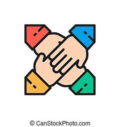 collaboration, mains, icon., couleur, équipe, ligne, plat