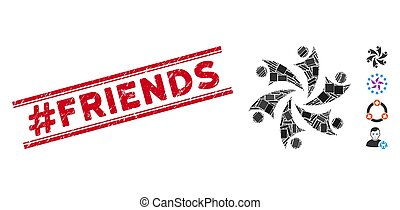 Collaboration Mosaic and Grunge #Friends Stamp Seal with Lines