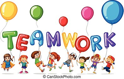 collaboration, mot, enfants, ballons