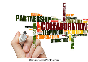 collaboration, mot, nuage