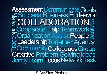 collaboration, mot, nuage