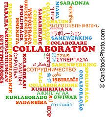 Collaboration multilanguage wordcloud background concept