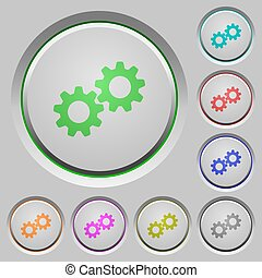 Collaboration color icons on sunk push buttons