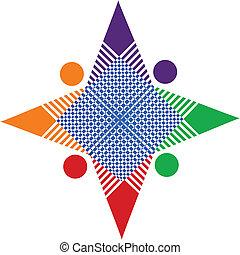 collaboration, résumé, étoile, logo