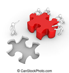 collaboration, rouges, puzzle, manikins