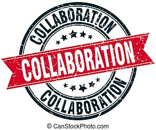 collaboration round grunge ribbon stamp