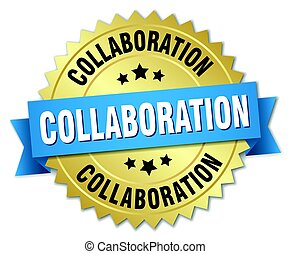 collaboration round isolated gold badge