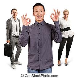 collaboration, spectacles, ok, homme asiatique