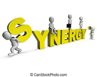 collaboration, travail, synergie, collaboration, caractères, équipe, spectacles