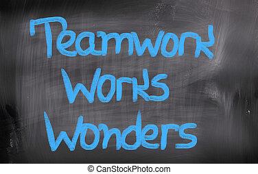 collaboration, travaux, émerveillements, concept