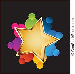 collaboration, vecteur, étoile, or, logo
